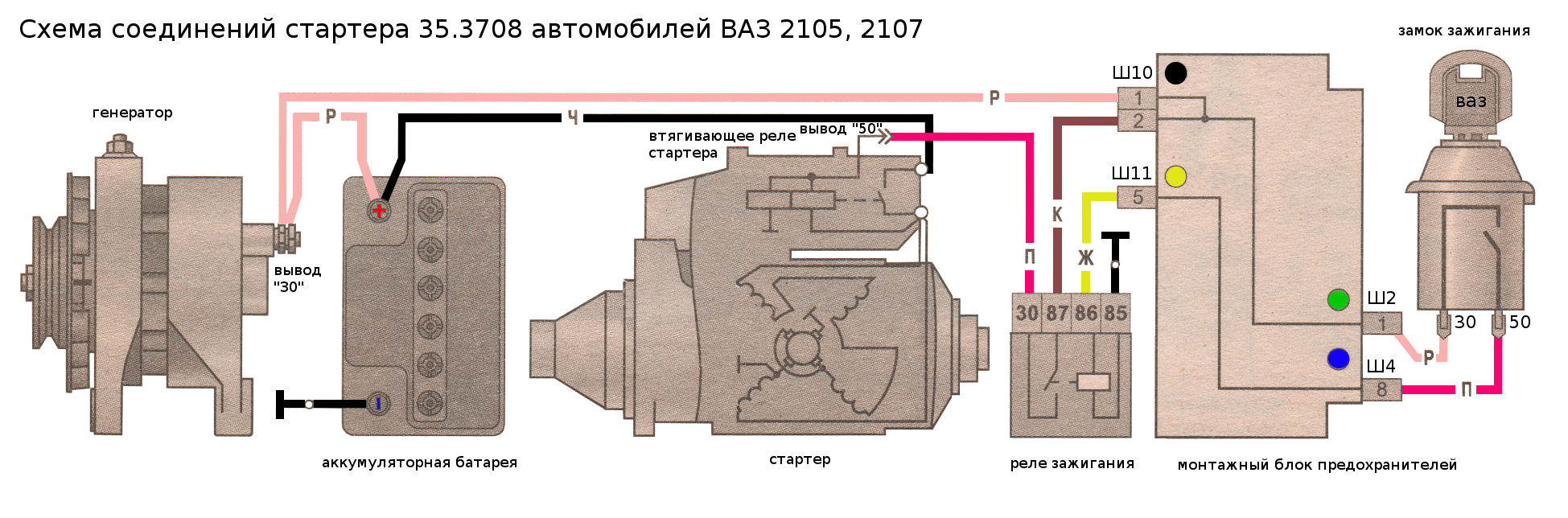 электрическая схема для ваз-21074